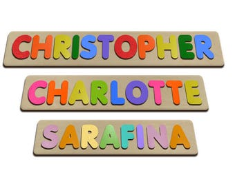 Bubble Fonts Personalized Wooden Name Puzzles Child's Name, Custom Made Puzzle From Wood Word id247628260