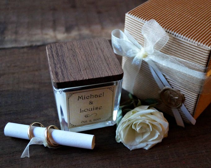 Scented candles 4oz, Wedding Favors, Custom Fragrance and label, Wedding gift witness, Favors candles, Personalized gift, winter wedding