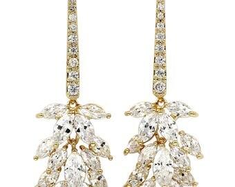 Sparkling crystal tassel leaves earrings