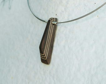 "Necklace ""Wenge pyramid"" carved on shiny steel cable, wood, precious and sterling silver"