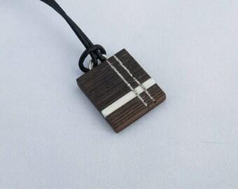 Pendant/necklace/silver, pattern inlaid, wood powder silver single men (bocote) elegant in all circumstances