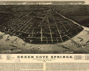 Poster, Many Sizes Available; Map Of Green Cove Springs, Florida. 1885
