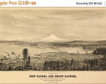 40% OFF SALE Poster, Many Sizes Available; Birdseye View Map Tacoma And Mount Rainier, Puget Sound, Washington Territory 1878