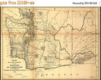 40% OFF SALE Poster, Many Sizes Available; Map Of Washington State 1866