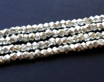 "Sterling Silver Faceted Nugget 2.5mm Beads 4"" Strand 50 Pieces"