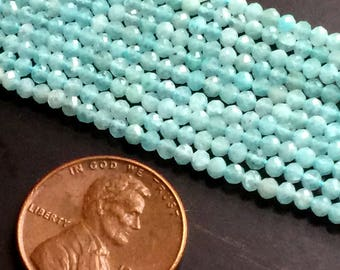 "2-3mm Amazonite Faceted Rondelle Gemstone Beads 13"" Strand"