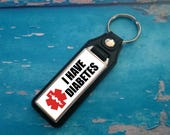 Silver Plated Keyring  Key Ring  Key Chain  I have Diabettes key fob  Awareness