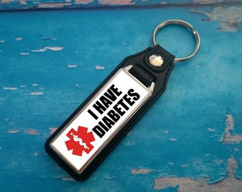 Silver Plated Keyring - Key Ring - Key Chain - I have Diabettes key fob - Awareness