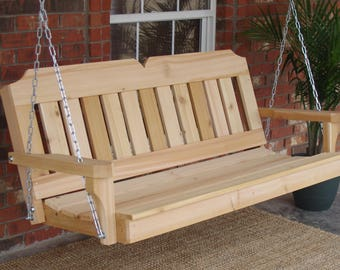 Brand New 4 Foot Cedar Wood Victorian Porch Swing with Hanging Chain - Free Shipping