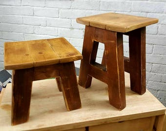 Handmade reclaimed wooden stool / step up kids seat gift.