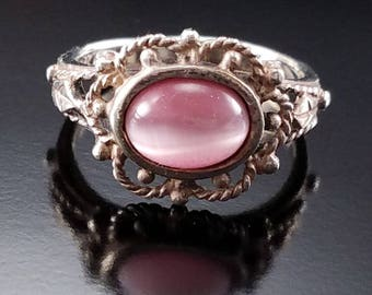 Vintage Pink Stone Sterling Silver Ring SZ 6.5 Estate Jewelry