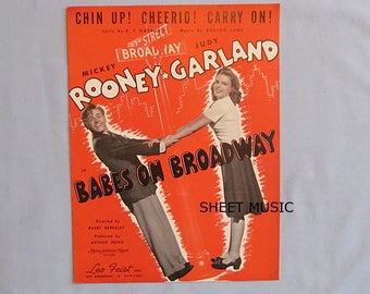 Sheet Music, Mickey Rooney, Judy Garland 'Babes on Broadway', 'Chin Up, Cheerio, Carry On', 1941