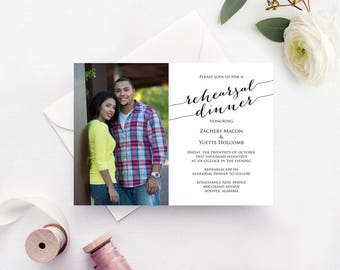 Rehearsal Dinner Photo Invitation Template, INSTANT DOWNLOAD, Self Editing Invite Template, DIY Wedding Printable, Personalized Invitation