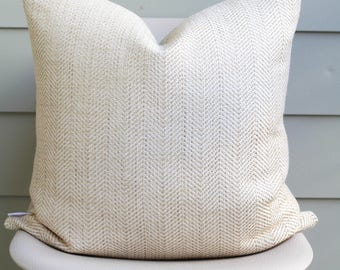 "22"" x 22"" Ivory Embroidered Herringbone Throw Pillow Cover - Soft Designer Fabric, COVER ONLY"