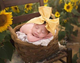 VINTAGE YELLOW Gorgeous Wrap- headwrap; fabric head wrap; yellow head wrap; boho; newborn headband; baby headband; toddler headband