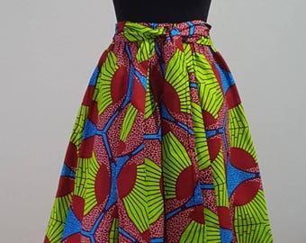 African clothing Midi skirt Ankara ruffle skirt African skirt