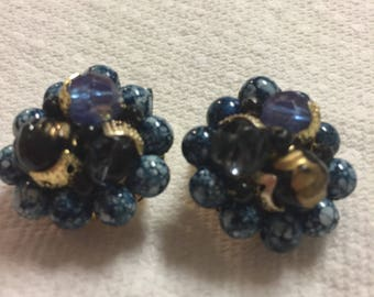 Blue Beaded Clip Earrings