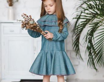 Collar toddler dress-Aqua cotton dress-Toddler long sleeve dress-Christmas girls dress-Birthday girls dress-Autumn girls dress-School dress