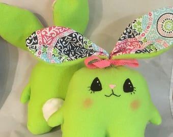 "Soft  and Huggable Green Fleece Bunny Rabbit  7"" (not counting ear length)"