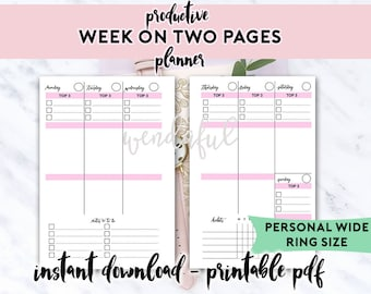 Personal Wide Size Ring Bound - Productive Week on Two Pages Planner