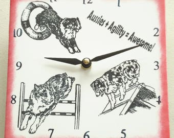 "Ceramic tile Australian Shepherd dog clock, 6"" square, red border"