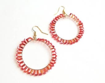 Red beaded earrings fashionable handmade long exclusive earrings,orange creamy unique beaded fashionable handmade long exclusive earrings