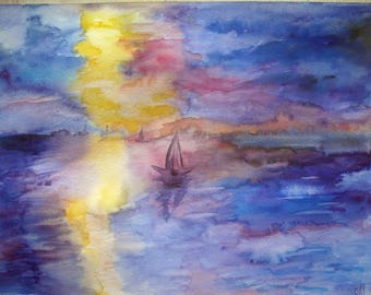 Watercolor landscape sunset over the sea