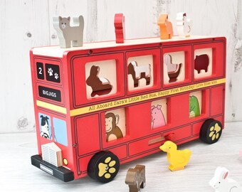 Personalised Wooden Red Bus Shape Sorter