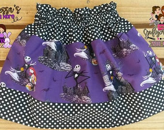 Nightmare Before Christmas Girl Skirt, NBC Halloween Skirt, Halloween Skirt, Sally Skirt, Jack Skellington Girl Skirt, Boutique Jack Skirt