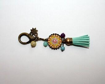 Key ring or bag rosette psychedelic Mandala charm