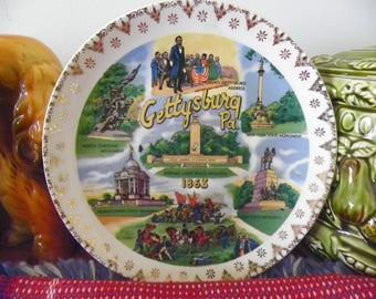 Vintage Souvenir Collector's Plate - Gettysburg, PA -Eternal Light Peace Memorial, North Caroline, Pennsylvania, Virginia, New York, Lincoln