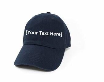 Custom Dad Hat, Custom Baseball Caps, Dad Hat Custom, Embroidered Baseball Cap, Adjustable Strap Back Baseball Cap, Low Profile, Navy