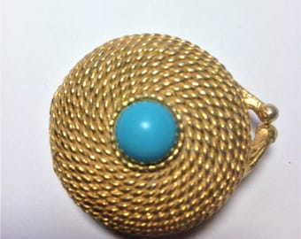 Vintage Perfume Case, Estee Lauder Case, Rope Gold Tone Case, Turquoise Toned Gem, Vintage Gift