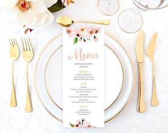 Pink Wedding Menu, Printable Pink Wedding Menu, Pink Floral Wedding Menu, Wedding Menu Cards, Rustic Wedding Menu, Bohemian Wedding Menu