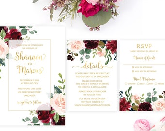 Burgundy Wedding Invitation Set, Printable Burgundy Wedding Invitation Suite, Wedding Invitation Template, Floral Burgundy Wedding Invite