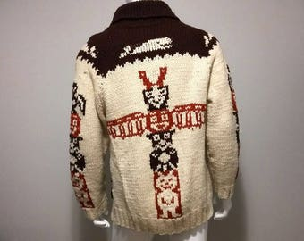 Vintage COWICHAN Sweater TOTEM POLE Zip Up Cowichan Jacket Native American Wool Jacket Size xl