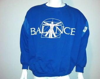 Vintage BALANCE Sweater - Crew neck Sweater - Activewear - 80s - Color Blue - Size Large