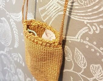 Crochet Drawstring Medallion Holder, beige drawstring keepsake