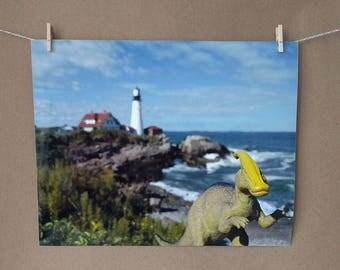 Dinosaur Iguanadon Photo Print, Portland Head Light, Maine