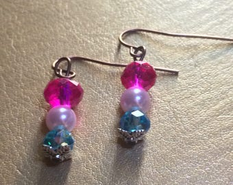 Hot pink, light blue, and pearl earrings