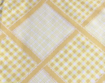Vintage Fieldcrest Percale Yellow White Gingham Patchwork Twin Fitted Sheet