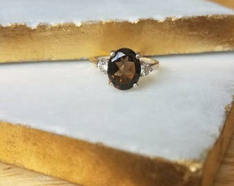 10x8mm Oval Smoky Quartz and White Topaz Accent Sterling Silver Ring Size 6, 7, or 8