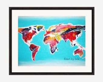 Rainbow Splatter World Map Print - Wall Decor - Original Wall Painting Art