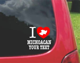 2 Pieces I Love Michoacan Mexico Stickers Decals 20 Colors To Choose From.  Free U.S.A Free Shipping