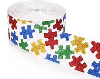 """3 inch Autism Glitter Super Sparkle Puzzle Printed Grosgrain 3 inch Cheer Hair Bow - Back is White 3""""  3 inch Cheer Hair Bow"""