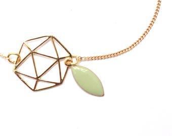 Life Absinthe green enamel leaf chain bracelet
