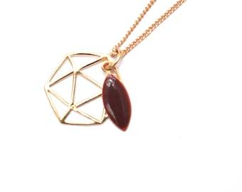 Gold plated leaf enamel Burgundy Life necklace