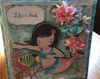 Mermaid Greeting Card with Flowers NEW LOWER PRICE