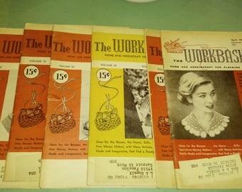 Set of 6 Workbasket Magazines / 1954 1955 1959 / Needlecraft / Knitting / Crochet / Home Goods / DIY