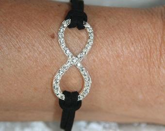 Infinity bracelet with Rhinestones